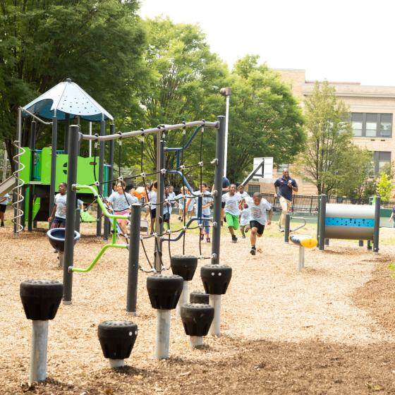 Kids running on playground