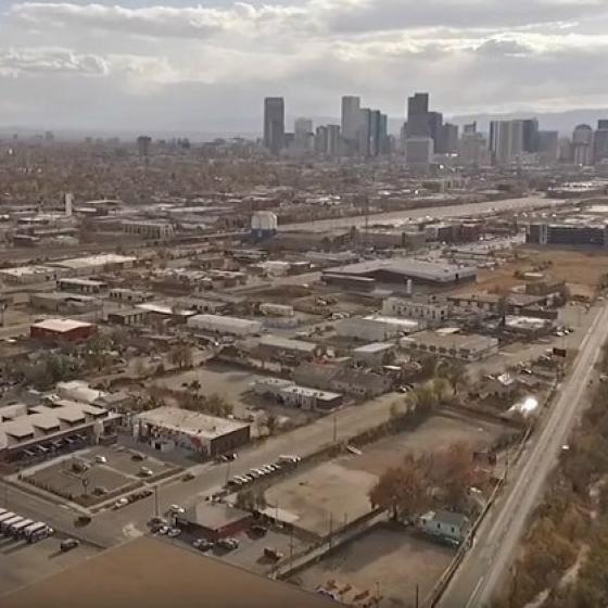 Aerial view of Denver's Globeville neighborhood
